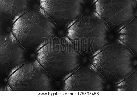 Black Buttoned Leather Texture.