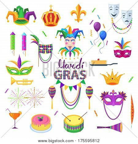 Mardi Gras carnival elements colourful collection on white. Festival masks with feathers, red cocktail, yellow-green drums, colourful petards and balloons, tasty pancakes. Party design elements