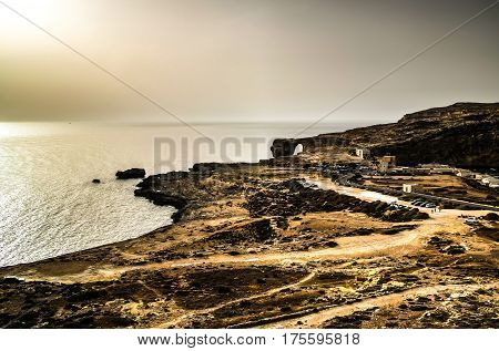 Sea view to Azure window natural arch now vanished Gozo island Malta
