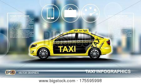 Realistic Taxi car Infographic. Online Cab Mobile App, Cab Booking, Map Navigation e-commerce business concept