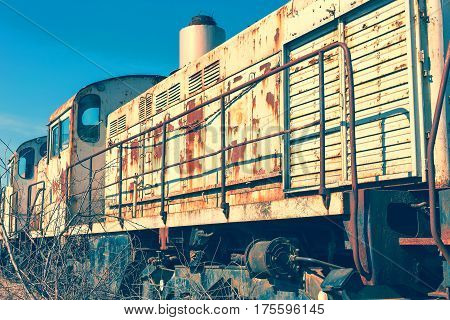Old Rusty Steam Locomotive. The Crisis In Ukraine, The Fall Of The Economy, Stop Production Capacity