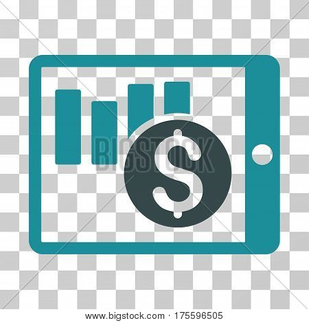 Sales Chart On PDA icon. Vector illustration style is flat iconic bicolor symbol soft blue colors transparent background. Designed for web and software interfaces.