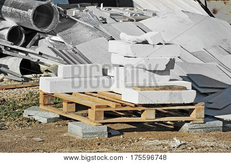 Stack Of Brick And Material Waste