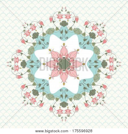 Round vector pattern on a simple background. Vintage pattern in modern style. Aquilegia plants contain flowers buds and leaves. Pink and green.