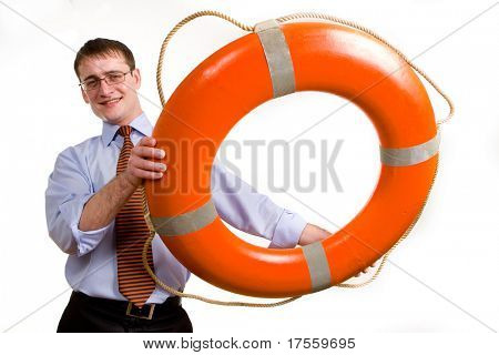 Young handsome businessman throwing a life buoy