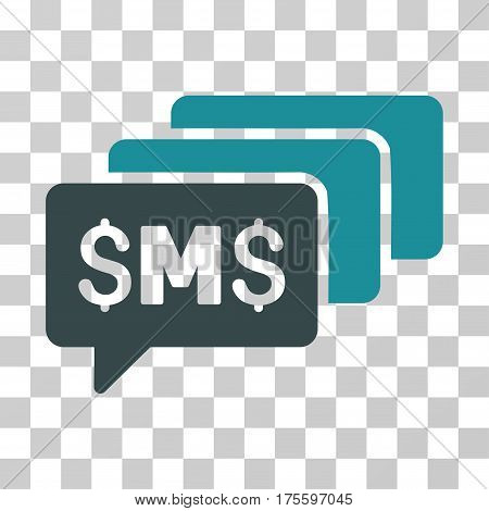 SMS Messages icon. Vector illustration style is flat iconic bicolor symbol soft blue colors transparent background. Designed for web and software interfaces.