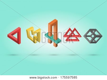 Impossible colorful shapes set, vector illustration, eps 10