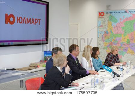 ST. PETERSBURG, RUSSIA - OCTOBER 27, 2016: Press conference of top managers of Ulmart company during the press tour. Ulmart is one of the largest Internet retailers in Russia