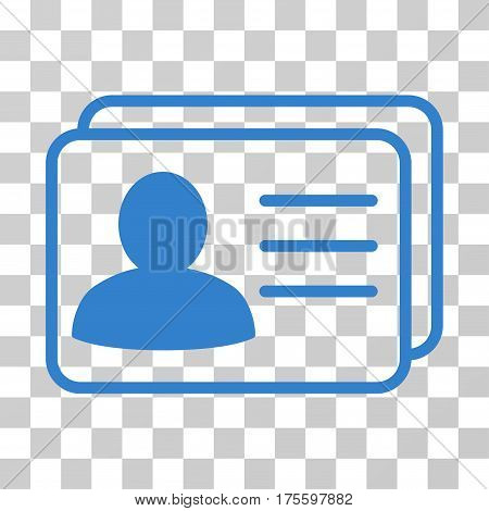 Account Cards icon. Vector illustration style is flat iconic symbol cobalt color transparent background. Designed for web and software interfaces.
