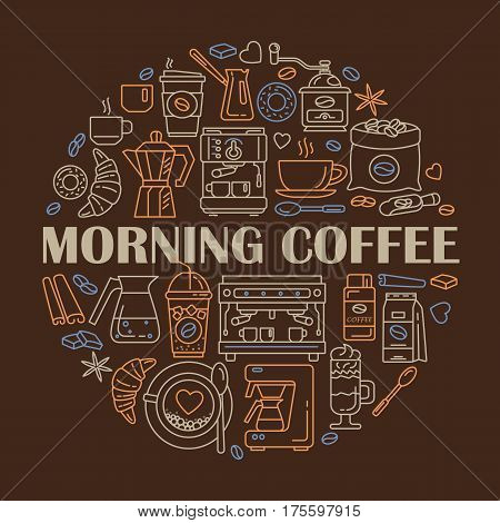 Outline web icon set . Elements - mocha pot coffee mill latte vending plant iced coffe cup cezve coffe machine Vector line icons of coffeemaking equipment