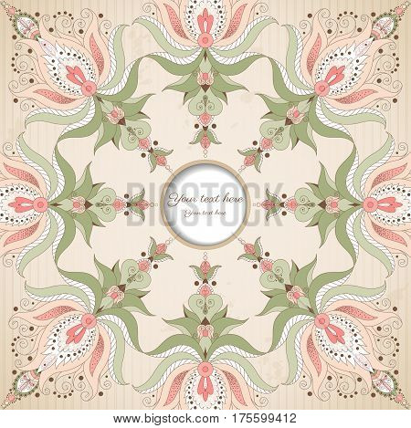 Vector frame with oriental floral elements on vintage background with stripes and blotches. Place for your text.