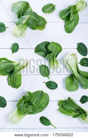 Asian Cabbage And Spinach, View Above