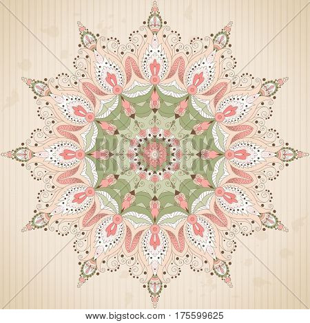 Round lace pattern with oriental floral elements on vintage background with stripes and blotches