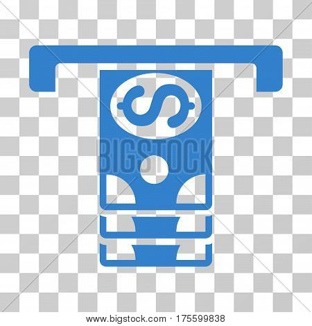 Banknotes Withdraw icon. Vector illustration style is flat iconic symbol cobalt color transparent background. Designed for web and software interfaces.