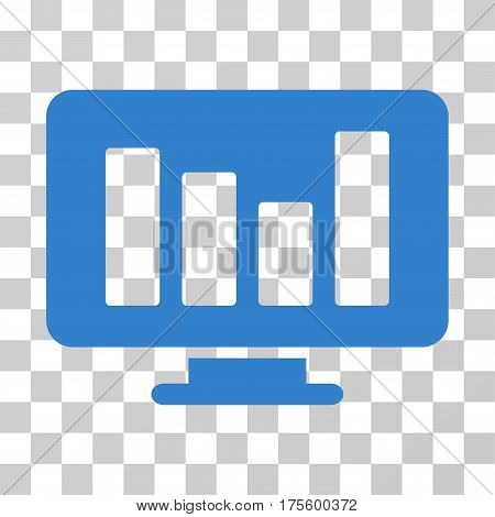 Bar Chart Monitoring icon. Vector illustration style is flat iconic symbol cobalt color transparent background. Designed for web and software interfaces.
