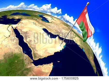 Oman national flag marking the country location on world map. 3D rendering, parts of this image furnished by NASA