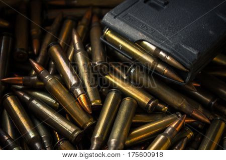 assault rifle bullet 5.56 and bullet magazine