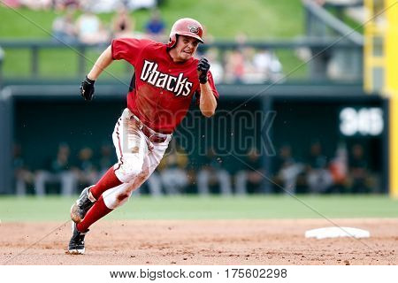 SCOTTSDALE, AZ-MAR 6: Arizona Diamondbacks outfielder Tony Campana (19) rounds the bases against the Oakland Athletics at Salt River Fields at Talking Stick on March 6, 2014 in Scottsdale, Arizona.