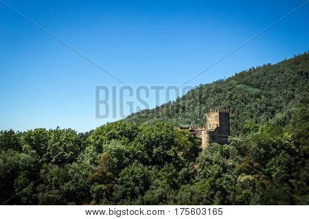 Old medieval fortress in deep forest with blue ky
