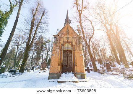 Lviv, Ukraine - Feb 14, 2017: Ancient Crypt In The Lychakivskyj Cemetery Of Lviv, Ukraine. Officiall