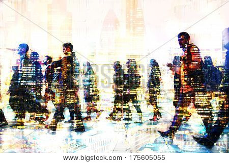 Lots of walking business people. Multiple exposure image. Business concept illustration. London