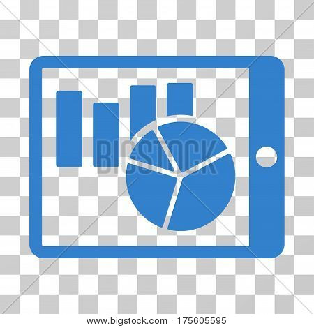 Charts On PDA icon. Vector illustration style is flat iconic symbol cobalt color transparent background. Designed for web and software interfaces.