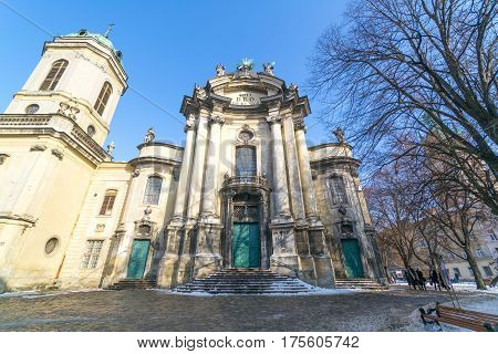 LVIV, UKRAINE - Feb 14, 2017: The Dominican church and monastery in Lviv, Ukraine is located in the city's Old Town, today serves as the Greek Catholic church of the Holy Eucharist