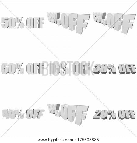 Percents off letters on white background. 3d render isolated.