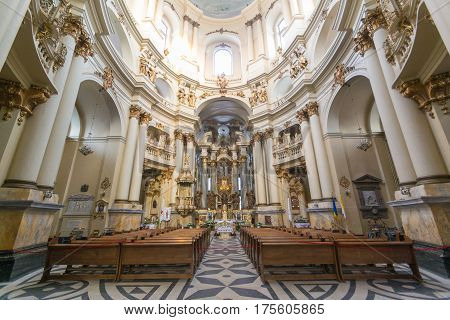 Lviv, Ukraine - Feb 14, 2017: Inside View In The Dominican Church And Monastery In Lviv, Ukraine Is