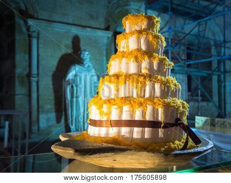Big Cake. Conventual Desserts. Sweet pastry, Yellow,
