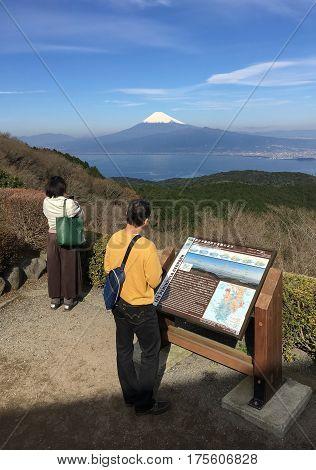 Mt.Fuji and Suruga bay in winter season seen from Top of Mt.Darumayama Izu Shizuoka prefecture