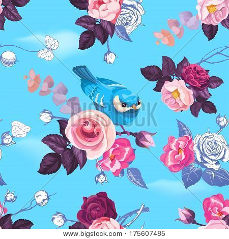 Gorgeous seamless pattern with half-colored wild roses and pretty little bird against blue clear sky on background. Spring bloom. Vector illustration for postcard greeting card wrapping paper.
