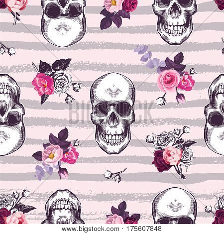 Kitschy seamless pattern with human skulls and half-colored buds of rose flowers against pink background with gray horizontal grungy stripes. Vector illustration for fabric print banner postcard.