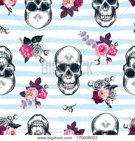 Seamless pattern with human skulls and semi-colored bunches of roses in etching style and blue horizontal paint traces on background. Modern backdrop. Vector illustration for wallpaper textile print.