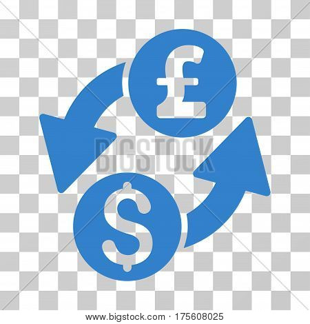 Dollar Pound Exchange icon. Vector illustration style is flat iconic symbol cobalt color transparent background. Designed for web and software interfaces.