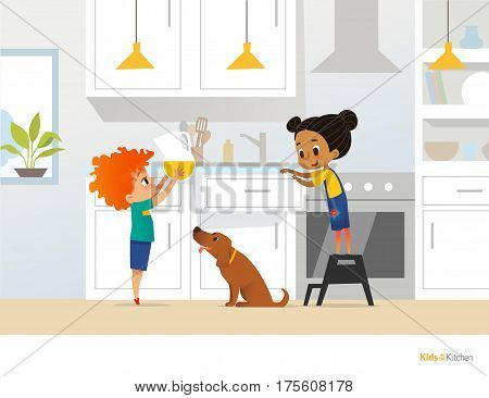 Children cooking food in kitchen. Red head boy holding pitcher with drink girl in apron standing by stove and cute pet dog. Home alone concept. Vector illustration for poster website postcard.