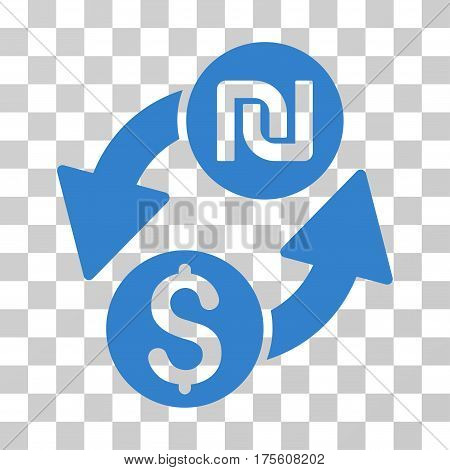 Dollar Shekel Exchange icon. Vector illustration style is flat iconic symbol cobalt color transparent background. Designed for web and software interfaces.