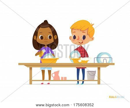 Two happy multiracial kids washing dishes isolated on white background. Children cleaning tableware. Montessori engaging educational activities concept. Vector illustration for flyer banner poster.