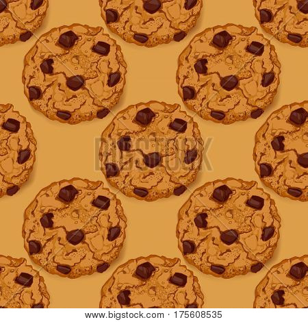 Seamless pattern with delicious chocolate chip cookies. Hand made hand drawn cookies on beige background. Vector illustration