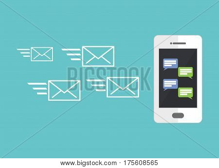 Mobile phone chat. Messaging. Online conversation concept