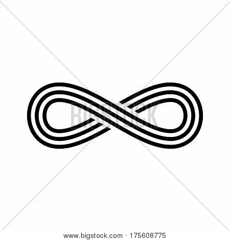 Infinity symbol icon. Representing the concept of infinite, limitless and endless things. Simple tripple line vector design element on white background.