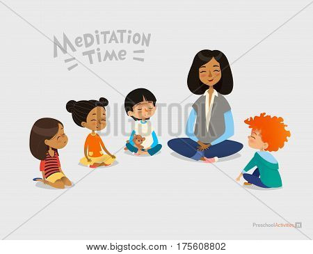 Preschool female teacher and smiling kids sitting in circle on floor and doing yoga exercise. Meditation lesson in kindergarten concept. Vector illustration for banner website poster postcard.