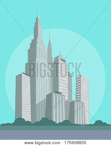 Business and habitable skyscrapers with flat and sharp roofs in city center. Vector illustration of futuristic urban buildings for various purposes on light azure background. Modern city construction