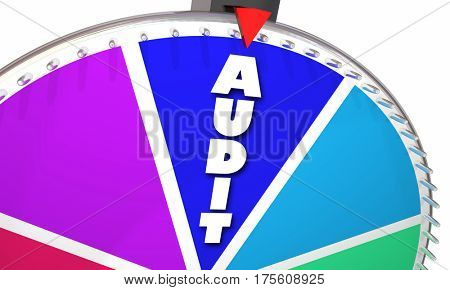 Audit Tax Review Accounting Bookkeeping Game Show Wheel Odds 3d Illustration
