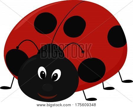 Vector illustration of smiling cartoon Lady bug isolated on white