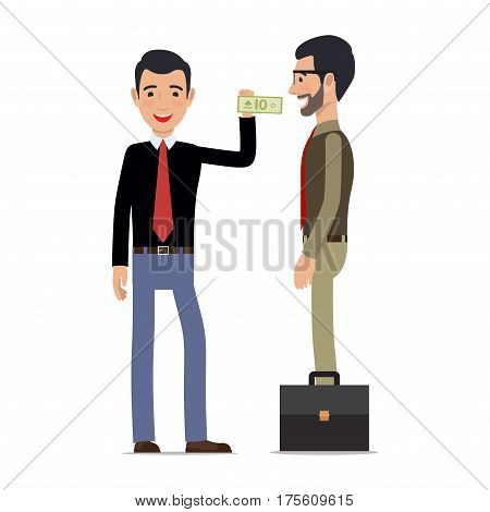 Two men make a transaction on white background. Man gives money banknote to another male making purchase. Vector illustration businessman career people buying something isolated on white