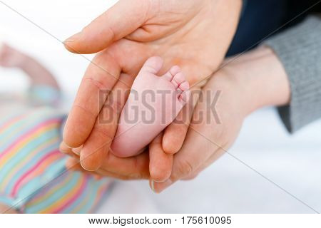 Father or mother holding foot of newborn baby. Adult hand and baby tiny baby feet. Happy parenthood, carefree childhood, family, love, tenderness.