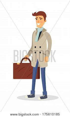 Isolated man in beige coat, jeans, light scarf and blue shoes holds brown suitcase on white. Vector portrait of cartoon smiling male person ready for travelling or just bought something in case
