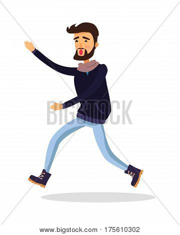 Young man running somewhere isolated on white. Male person in black jacket and jeans late for event and tries to gain it on hurrying. Vector illustration of lateness in cartoon style flat design