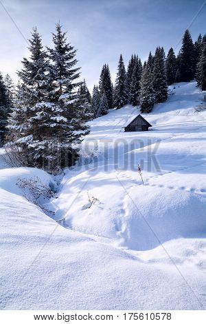 old wooden hut in snowy mountains Alps Germany